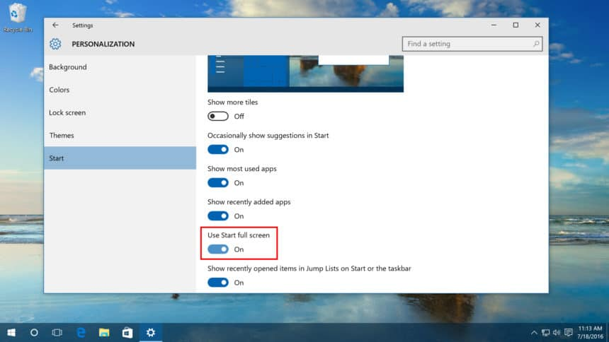 windows 10 start folosit in full-screen